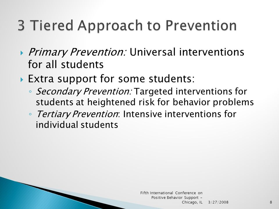 8  Primary Prevention: Universal interventions for all students  Extra support for some students: ◦ Secondary Prevention: Targeted interventions for students at heightened risk for behavior problems ◦ Tertiary Prevention: Intensive interventions for individual students 3/27/2008 Fifth International Conference on Positive Behavior Support - Chicago, IL