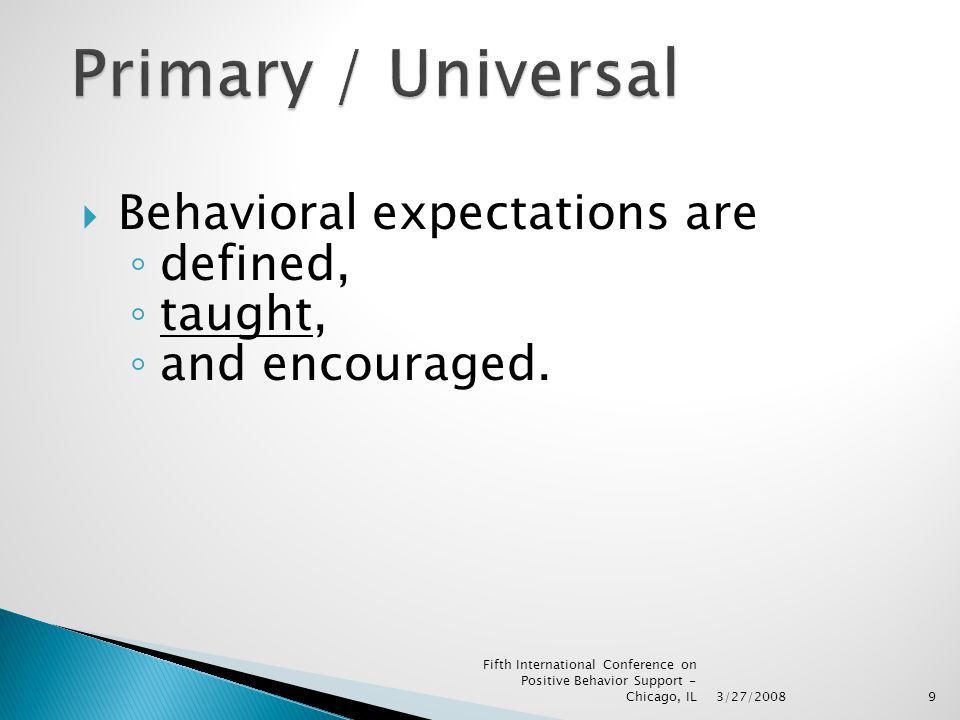  Behavioral expectations are ◦ defined, ◦ taught, ◦ and encouraged.