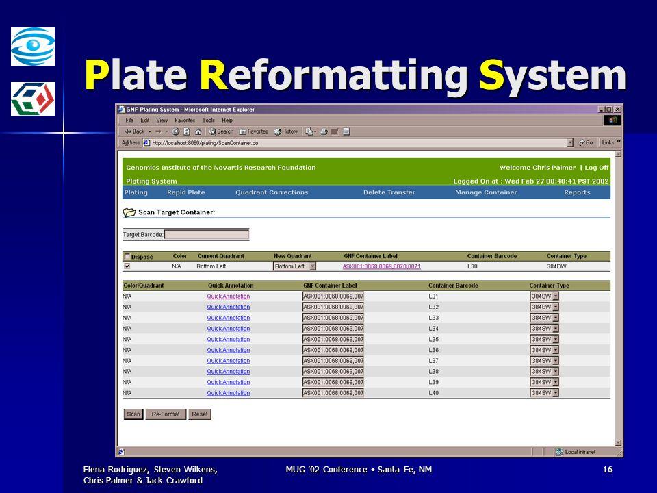 Elena Rodriguez, Steven Wilkens, Chris Palmer & Jack Crawford MUG '02 Conference Santa Fe, NM16 Plate Reformatting System