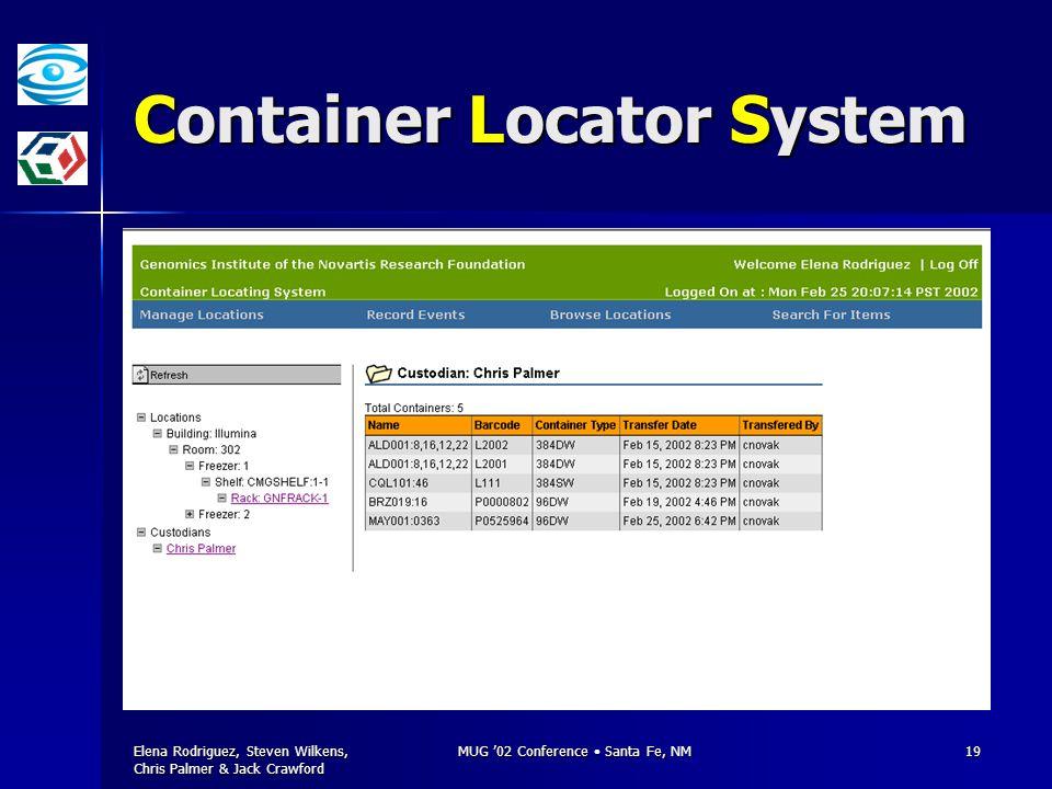Elena Rodriguez, Steven Wilkens, Chris Palmer & Jack Crawford MUG '02 Conference Santa Fe, NM19 Container Locator System