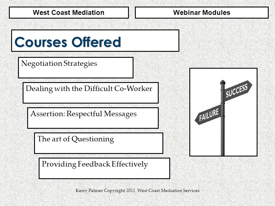 2 Kerry Palmer Copyright 2011 West Coast Mediation Services Courses Offered Negotiation Strategies Assertion: Respectful Messages Dealing with the Difficult Co-Worker Webinar ModulesWest Coast Mediation The art of Questioning Providing Feedback Effectively