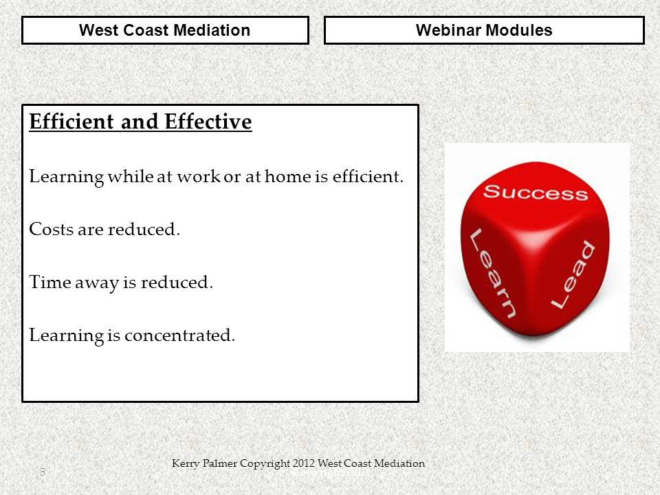 Copyright 20106 Kerry Palmer Copyright 2012 West Coast Mediation Negotiation Strategies 4 modules take you step by step through the phases of a Negotiation Model.