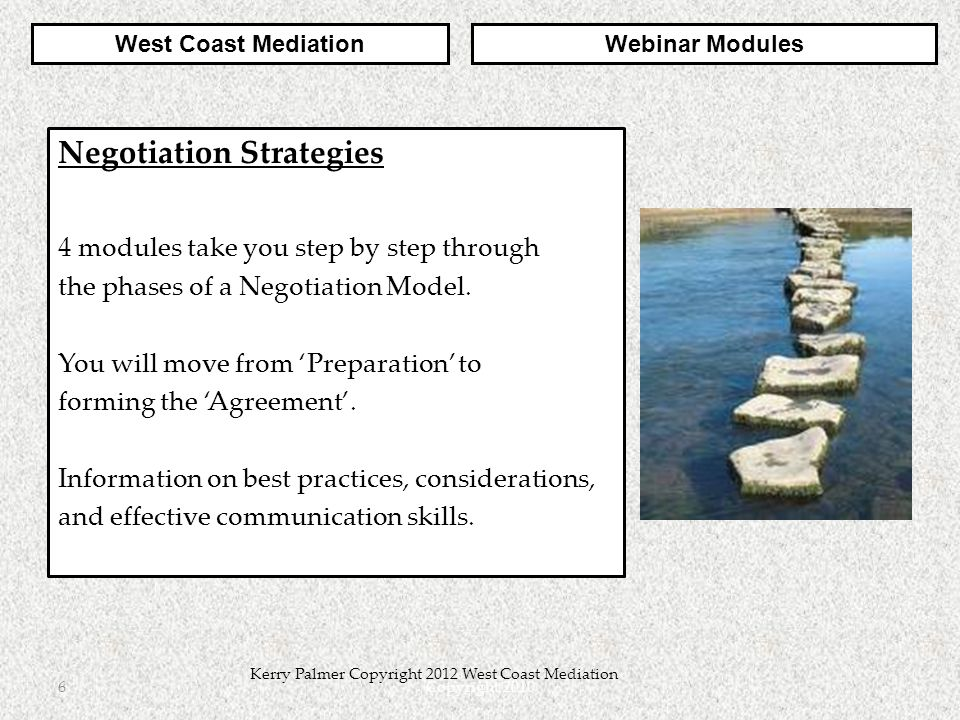 Copyright 20106 Kerry Palmer Copyright 2012 West Coast Mediation Negotiation Strategies 4 modules take you step by step through the phases of a Negoti