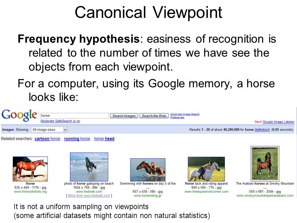 Canonical Viewpoint Frequency hypothesis: easiness of recognition is related to the number of times we have see the objects from each viewpoint.