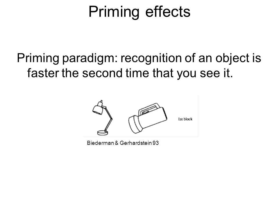 Priming effects Priming paradigm: recognition of an object is faster the second time that you see it.