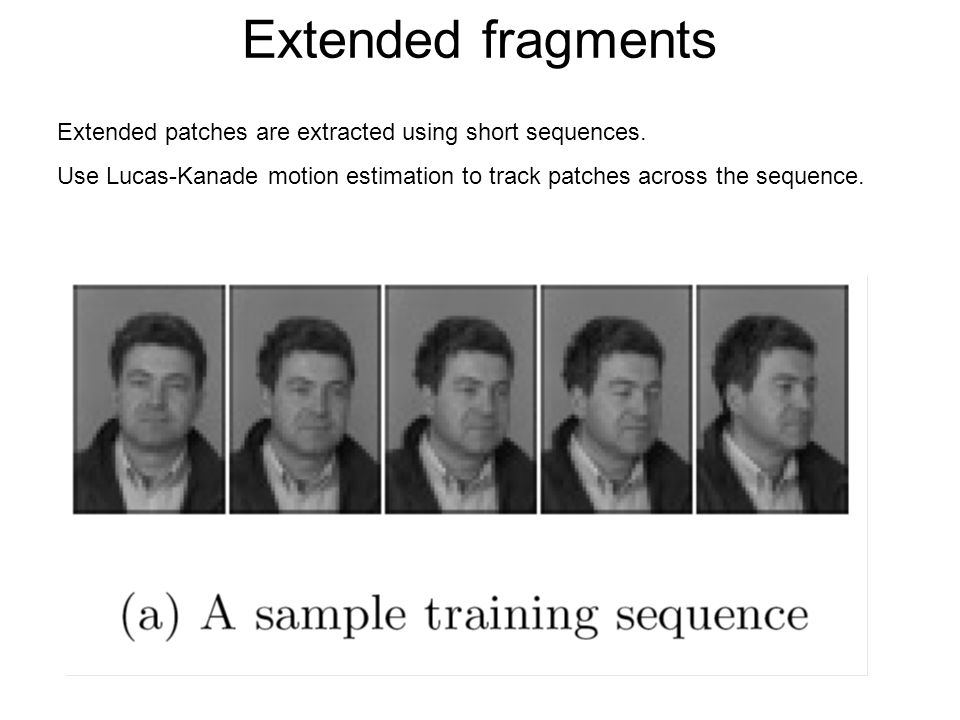 Extended fragments Extended patches are extracted using short sequences.