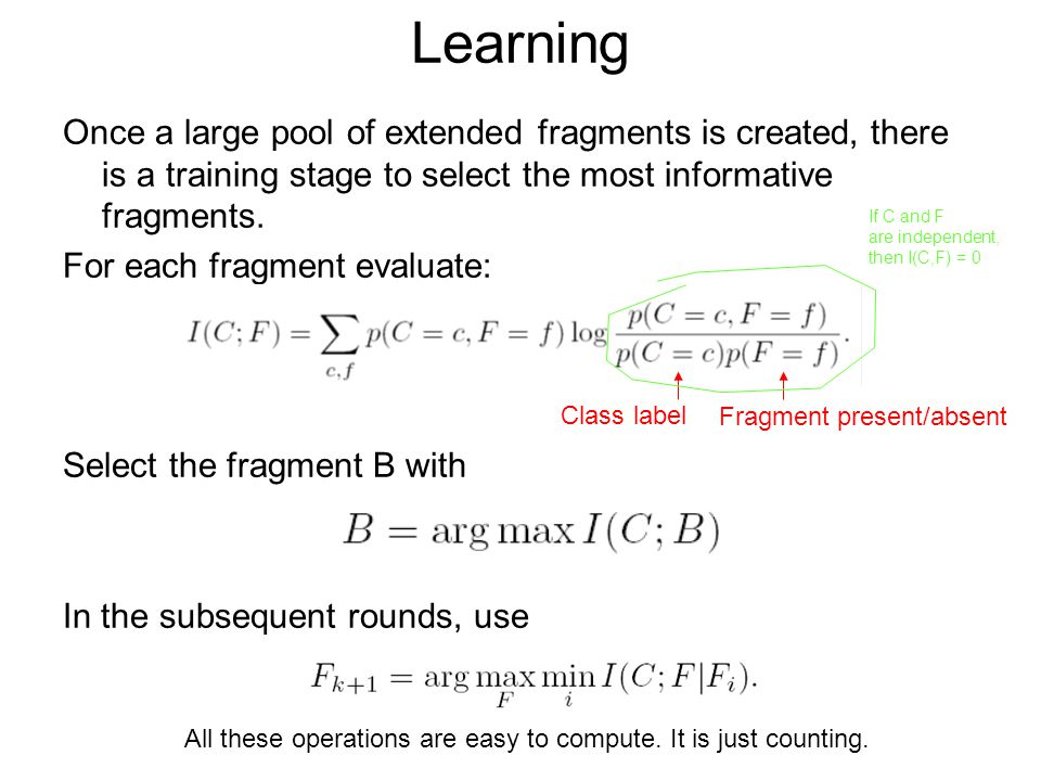 Learning Once a large pool of extended fragments is created, there is a training stage to select the most informative fragments.