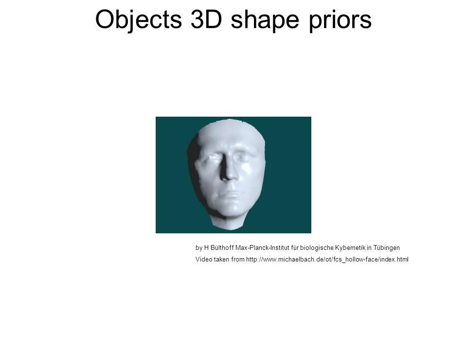 Objects 3D shape priors by H Bülthoff Max-Planck-Institut für biologische Kybernetik in Tübingen Video taken from http://www.michaelbach.de/ot/fcs_hollow-face/index.html