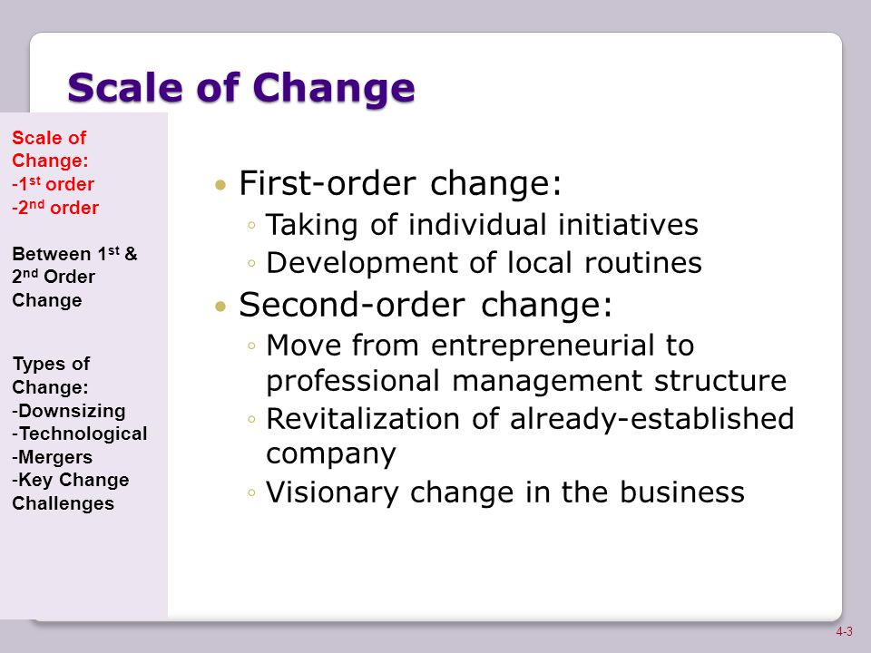 Scale of Change First-order change: ◦Taking of individual initiatives ◦Development of local routines Second-order change: ◦Move from entrepreneurial t