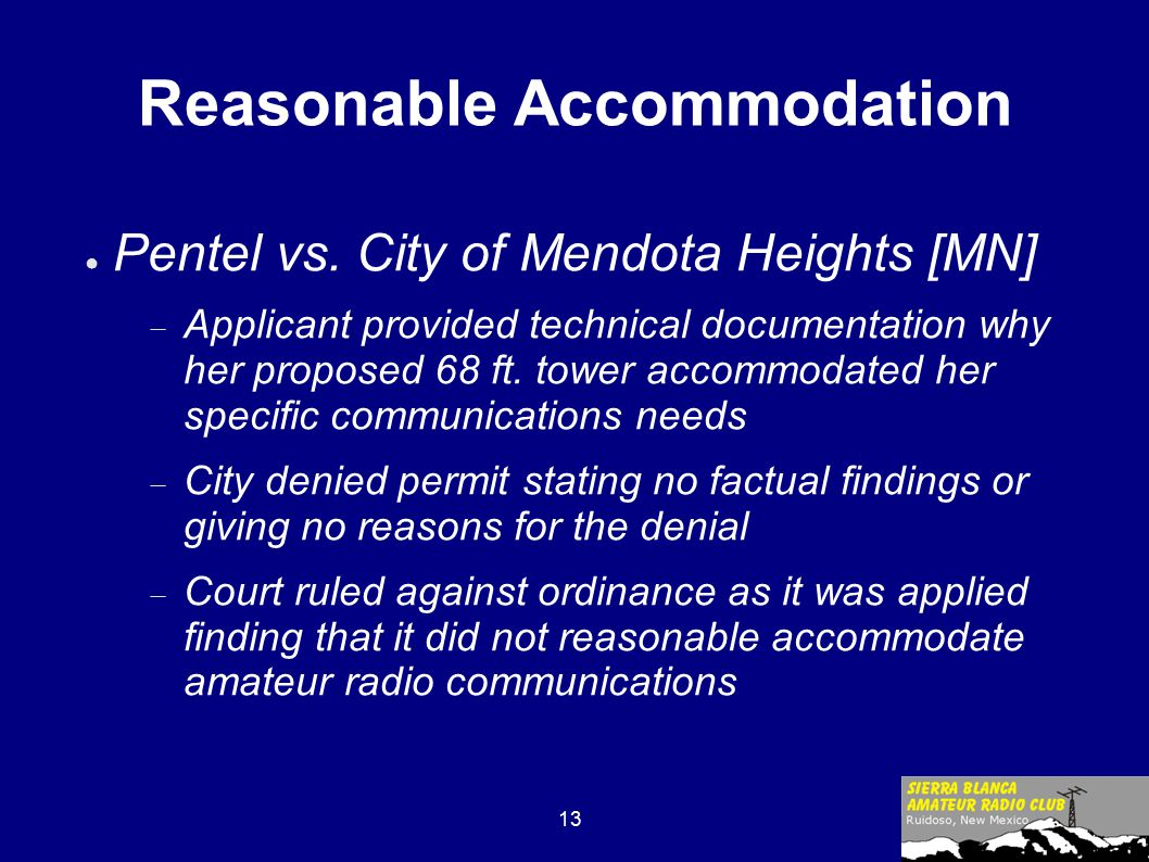 13 Reasonable Accommodation ● Pentel vs.