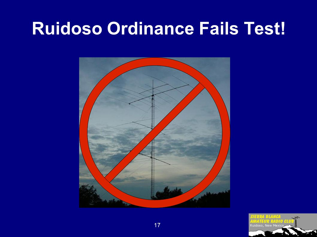 17 Ruidoso Ordinance Fails Test!