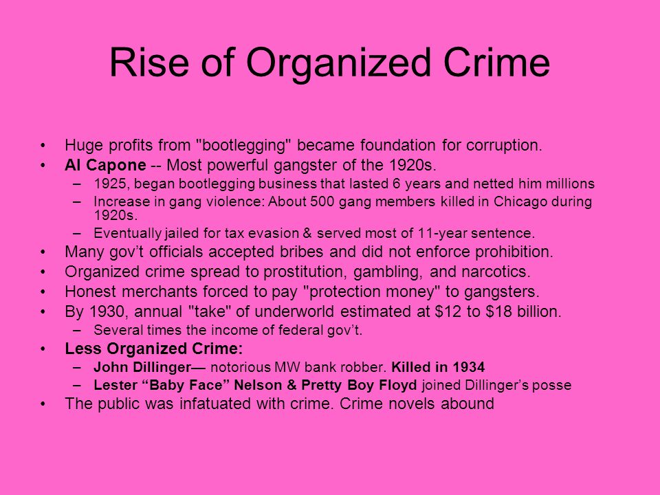 Rise of Organized Crime Huge profits from