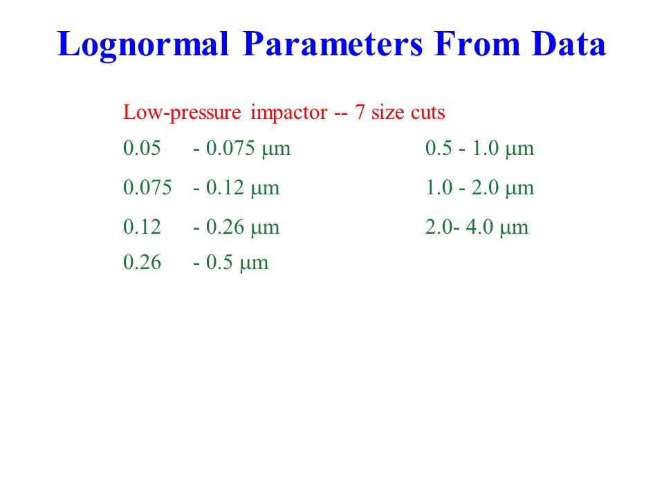 Lognormal Parameters From Data Low-pressure impactor -- 7 size cuts 0.05- 0.075  m0.5 - 1.0  m 0.075 - 0.12  m1.0 - 2.0  m 0.12 - 0.26  m2.0- 4.0  m 0.26 - 0.5  m