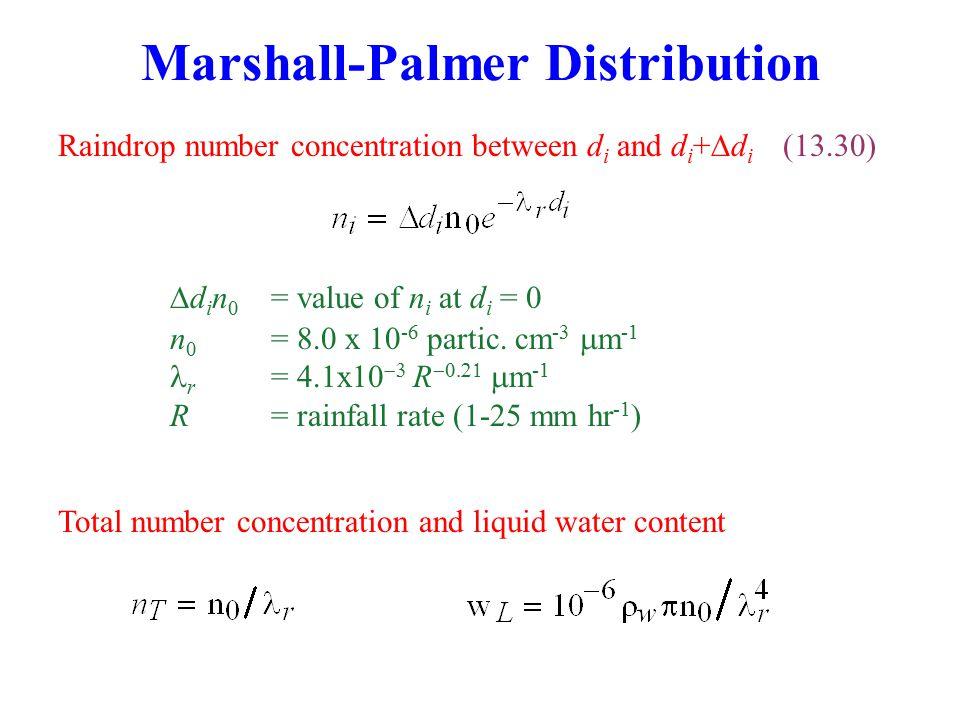 Marshall-Palmer Distribution Raindrop number concentration between d i and d i +  d i (13.30)  d i n 0 = value of n i at d i = 0 n 0 = 8.0 x 10 -6 partic.