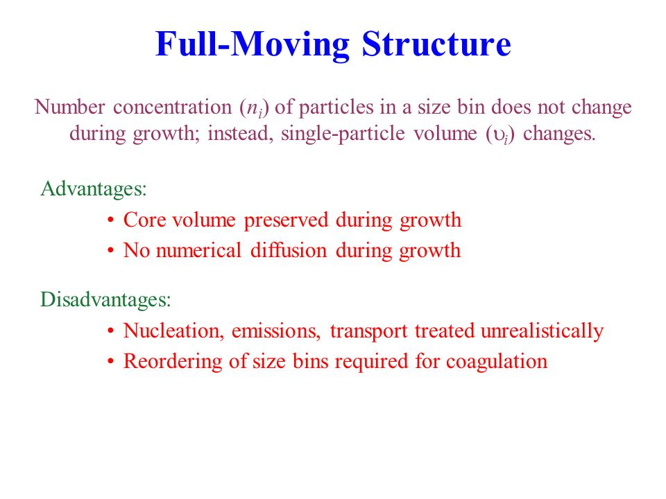 Full-Moving Structure Number concentration (n i ) of particles in a size bin does not change during growth; instead, single-particle volume (  i ) changes.