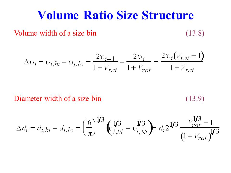 Particle Concentrations Number concentration in a size bin(13.10) Volume concentration in a size bin(13.12) Number concentration in a size distribution(13.11) Surface area concentration in a size bin(13.13)