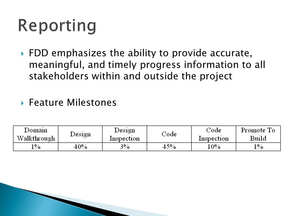  FDD emphasizes the ability to provide accurate, meaningful, and timely progress information to all stakeholders within and outside the project  Feature Milestones