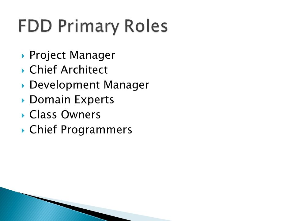  Project Manager  Chief Architect  Development Manager  Domain Experts  Class Owners  Chief Programmers