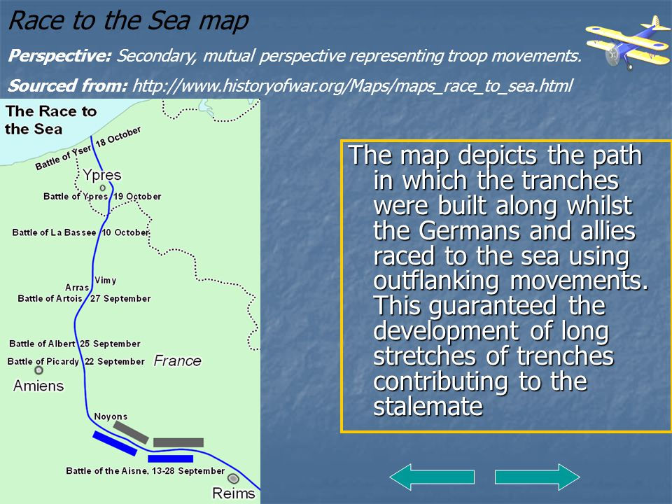 The map depicts the path in which the tranches were built along whilst the Germans and allies raced to the sea using outflanking movements. This guara