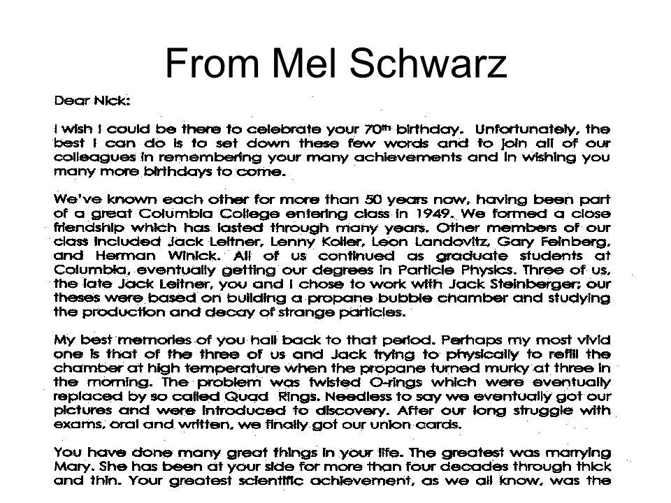From Mel Schwarz