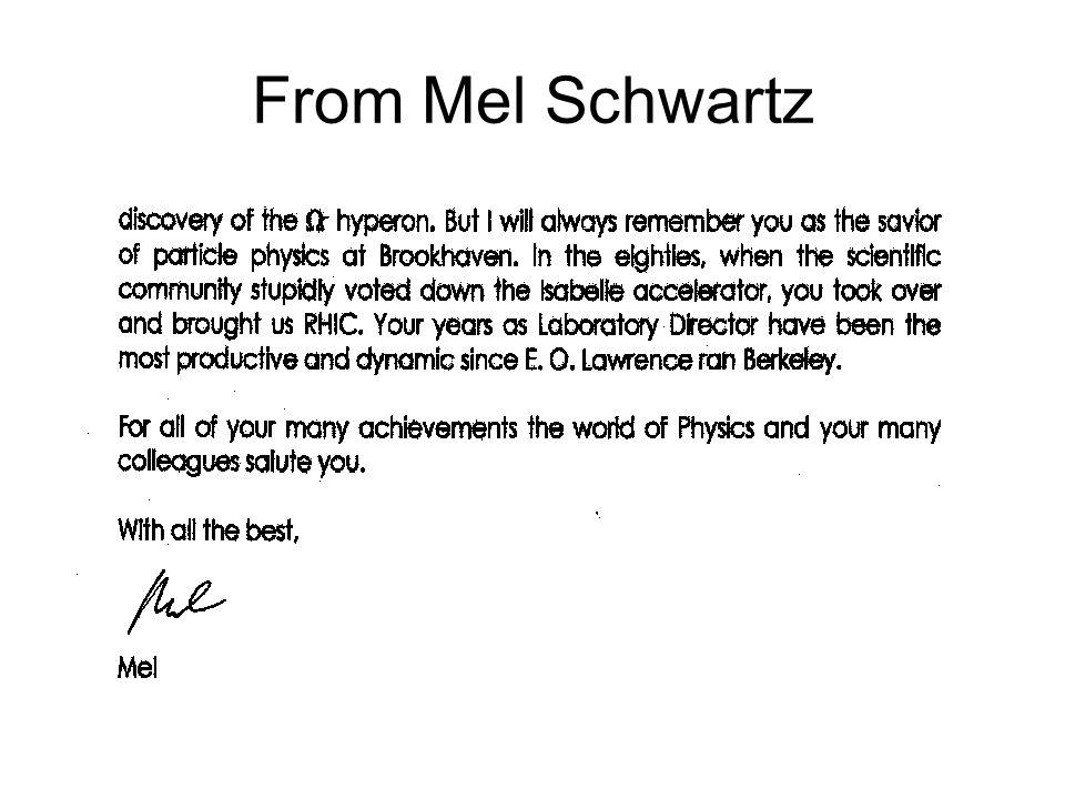 From Mel Schwartz
