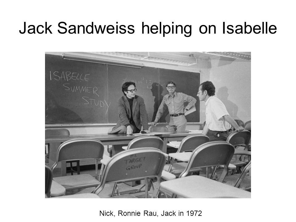 Jack Sandweiss helping on Isabelle Nick, Ronnie Rau, Jack in 1972