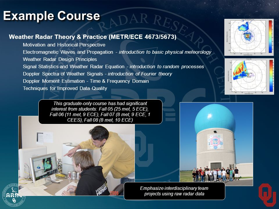 Weather Radar Theory & Practice (METR/ECE 4673/5673) Motivation and Historical Perspective Electromagnetic Waves and Propagation - introduction to basic physical meteorology Weather Radar Design Principles Signal Statistics and Weather Radar Equation - introduction to random processes Doppler Spectra of Weather Signals - introduction of Fourier theory Doppler Moment Estimation - Time & Frequency Domain Techniques for Improved Data Quality Example Course This graduate-only course has had significant interest from students: Fall 05 (25 met, 5 ECE), Fall 06 (11 met, 9 ECE), Fall 07 (8 met, 9 ECE, 1 CEES), Fall 08 (8 met, 10 ECE) Emphasize interdisciplinary team projects using raw radar data