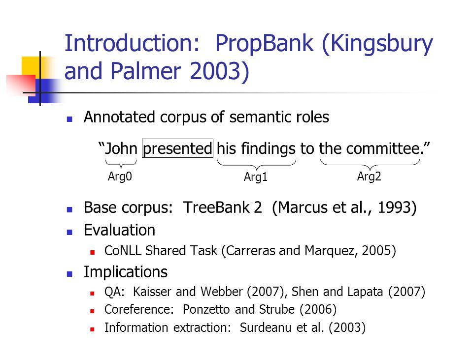 Introduction: PropBank (Kingsbury and Palmer 2003) Annotated corpus of semantic roles Base corpus: TreeBank 2 (Marcus et al., 1993) Evaluation CoNLL S