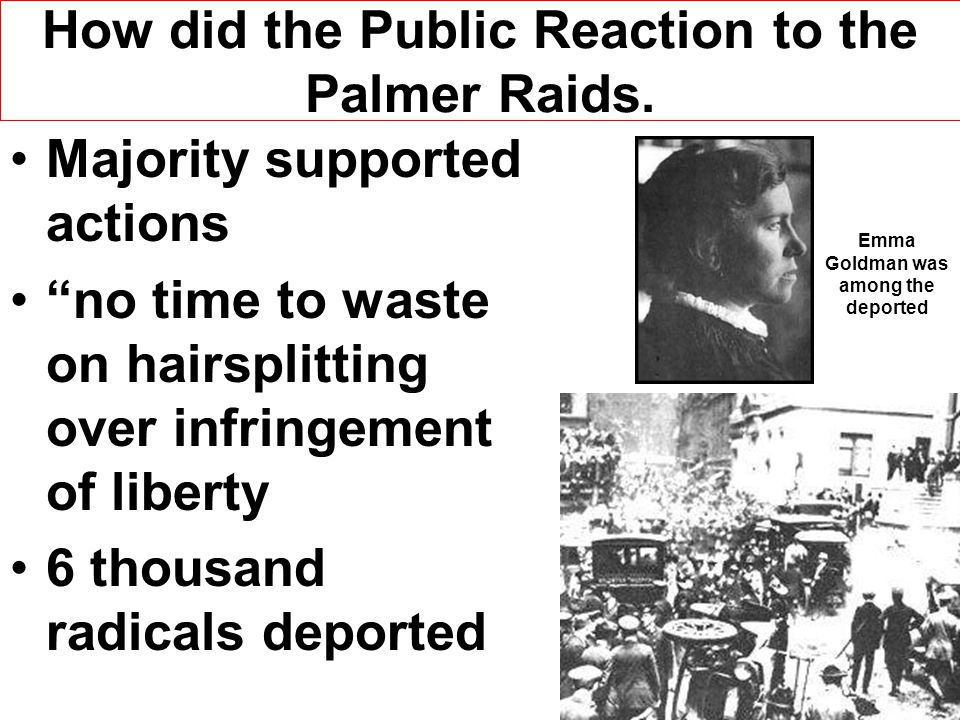 How did the Public Reaction to the Palmer Raids.