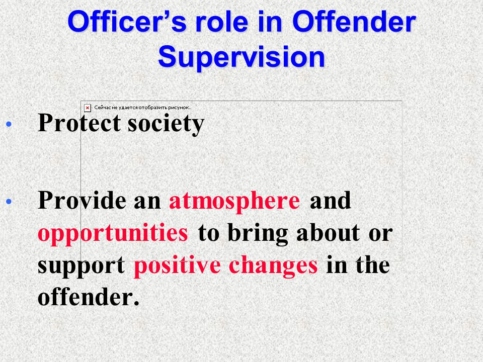 Officer's role in Offender Supervision Protect society Provide an atmosphere and opportunities to bring about or support positive changes in the offender.