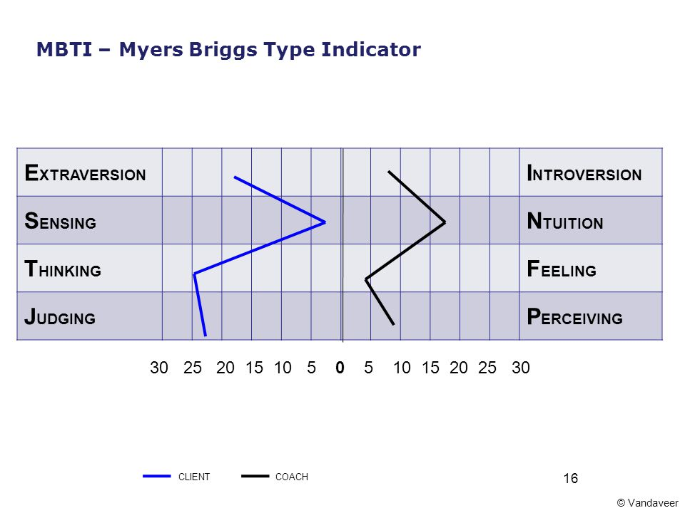 16 E XTRAVERSION I NTROVERSION S ENSING N TUITION T HINKING F EELING J UDGING P ERCEIVING 30 25 20 15 10 5 0 5 10 15 20 25 30 MBTI – Myers Briggs Type