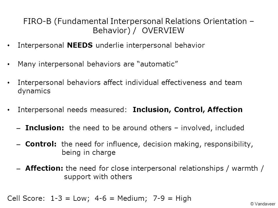 FIRO-B (Fundamental Interpersonal Relations Orientation – Behavior) / OVERVIEW Interpersonal NEEDS underlie interpersonal behavior Many interpersonal