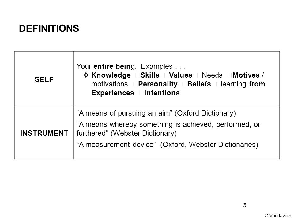 3 DEFINITIONS SELF Your entire being. Examples...  Knowledge  Skills  Values  Needs  Motives / motivations  Personality  Beliefs  learning fro