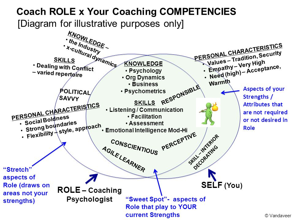 Coach ROLE x Your Coaching COMPETENCIES [Diagram for illustrative purposes only] ROLE – Coaching Psychologist SELF (You) SKILL – INTERIOR DECORATING P