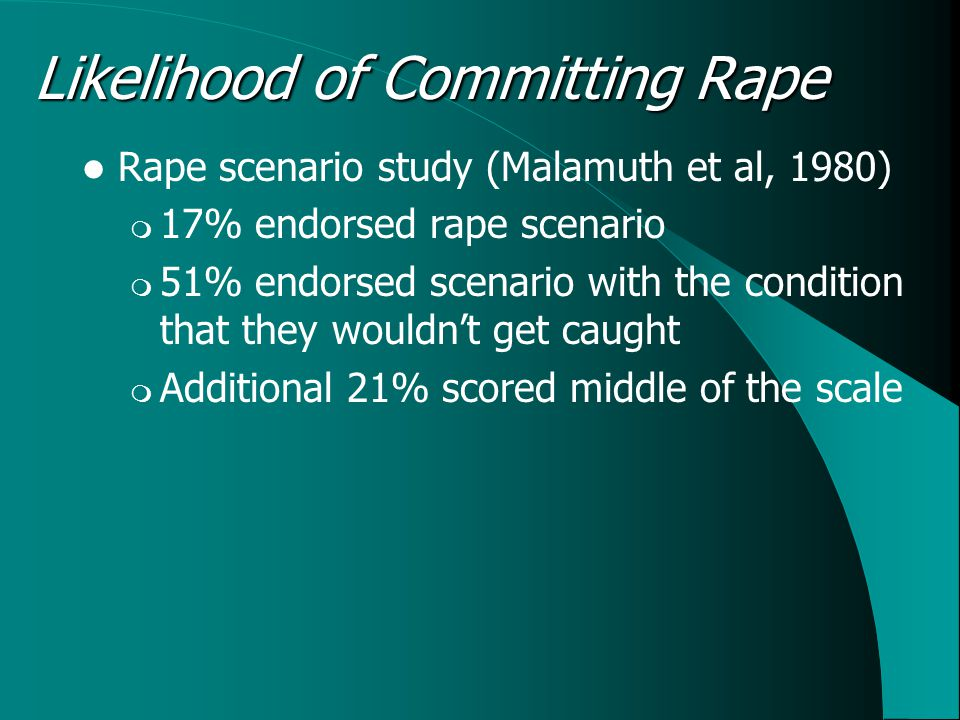 Likelihood of Committing Rape Rape scenario study (Malamuth et al, 1980)  17% endorsed rape scenario  51% endorsed scenario with the condition that they wouldn't get caught  Additional 21% scored middle of the scale