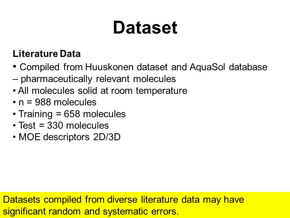 Dataset Literature Data Compiled from Huuskonen dataset and AquaSol database – pharmaceutically relevant molecules All molecules solid at room temperature n = 988 molecules Training = 658 molecules Test = 330 molecules MOE descriptors 2D/3D Datasets compiled from diverse literature data may have significant random and systematic errors.
