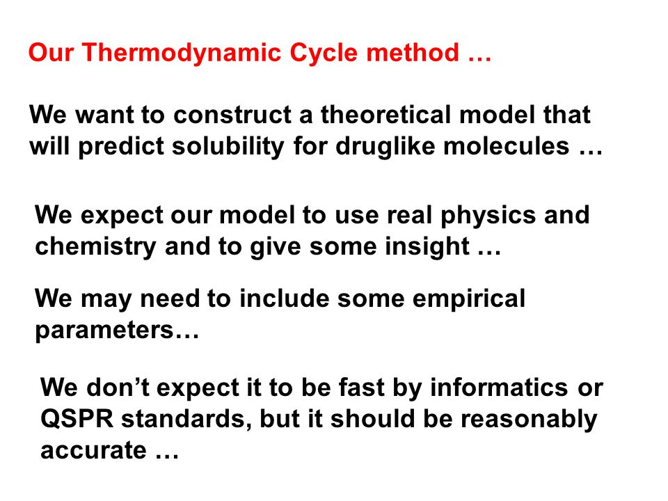 We want to construct a theoretical model that will predict solubility for druglike molecules … We expect our model to use real physics and chemistry and to give some insight … We don't expect it to be fast by informatics or QSPR standards, but it should be reasonably accurate … Our Thermodynamic Cycle method … We may need to include some empirical parameters…
