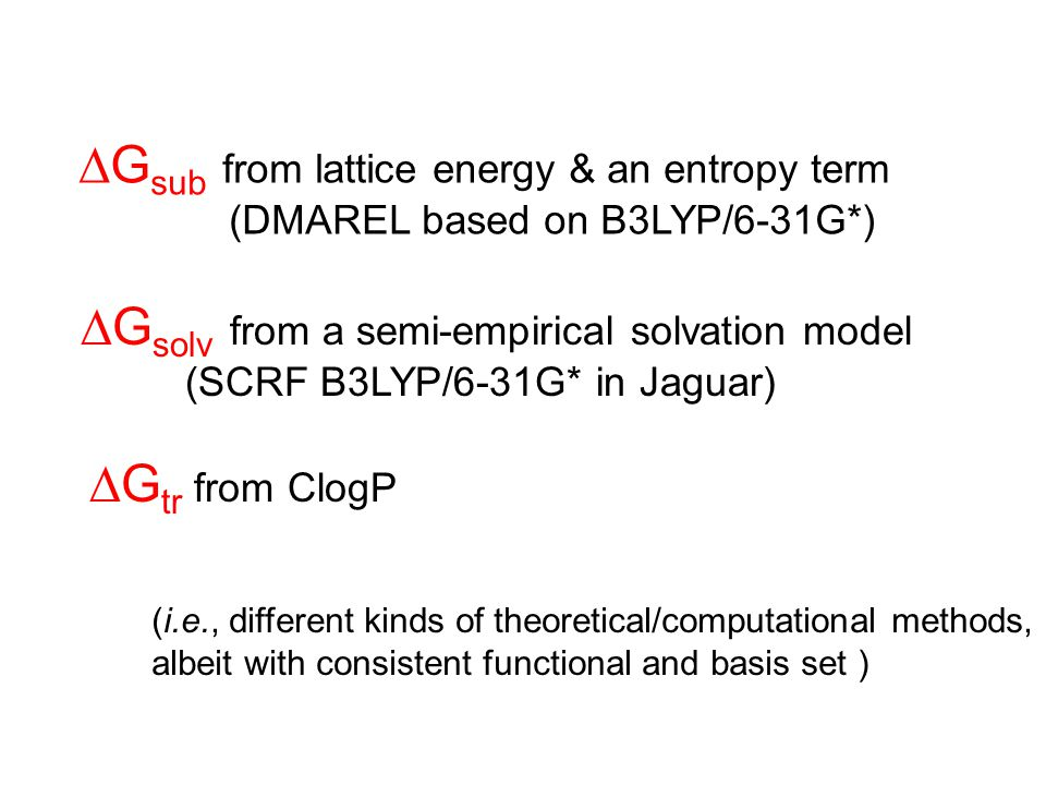  G sub from lattice energy & an entropy term (DMAREL based on B3LYP/6-31G*)  G solv from a semi-empirical solvation model (SCRF B3LYP/6-31G* in Jaguar) (i.e., different kinds of theoretical/computational methods, albeit with consistent functional and basis set )  G tr from ClogP