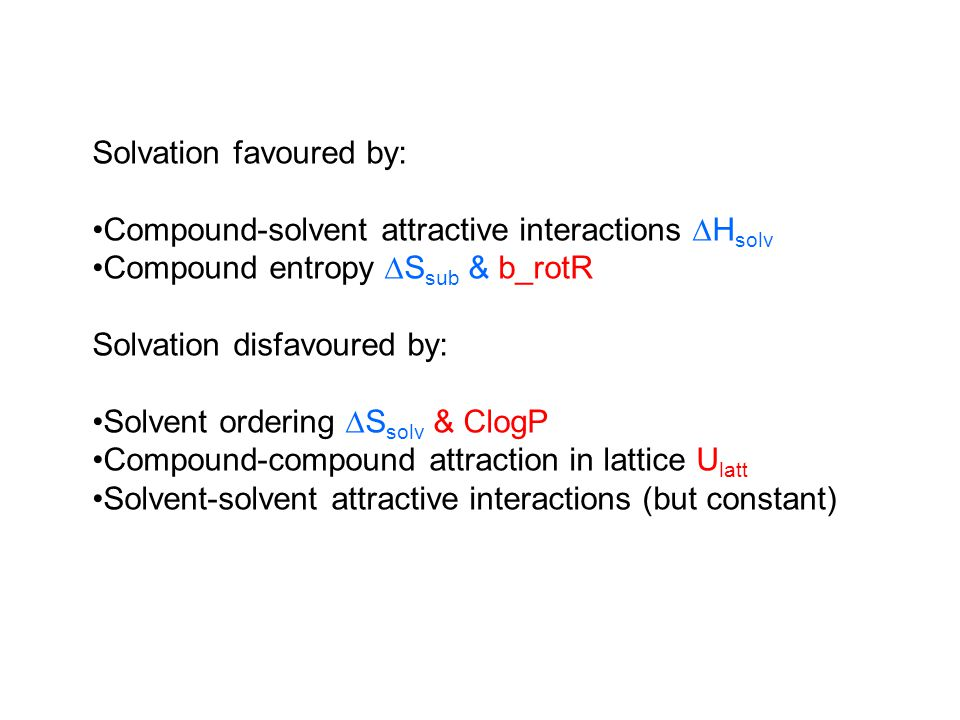 Solvation favoured by: Compound-solvent attractive interactions  H solv Compound entropy  S sub & b_rotR Solvation disfavoured by: Solvent ordering  S solv & ClogP Compound-compound attraction in lattice U latt Solvent-solvent attractive interactions (but constant)