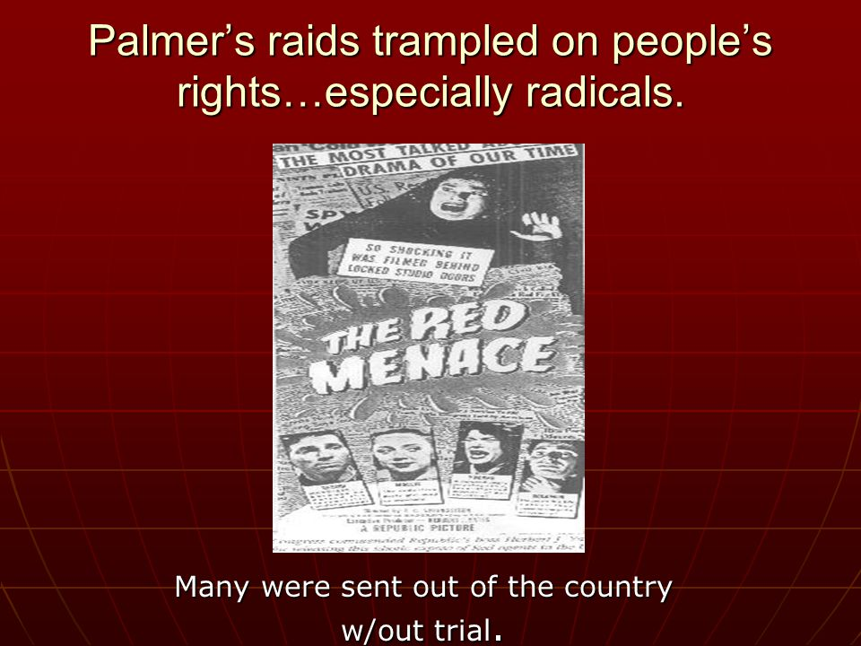 PALMER RAIDS … Attorney General A. Mitchell Palmer set up an agency in the Justice Dept.
