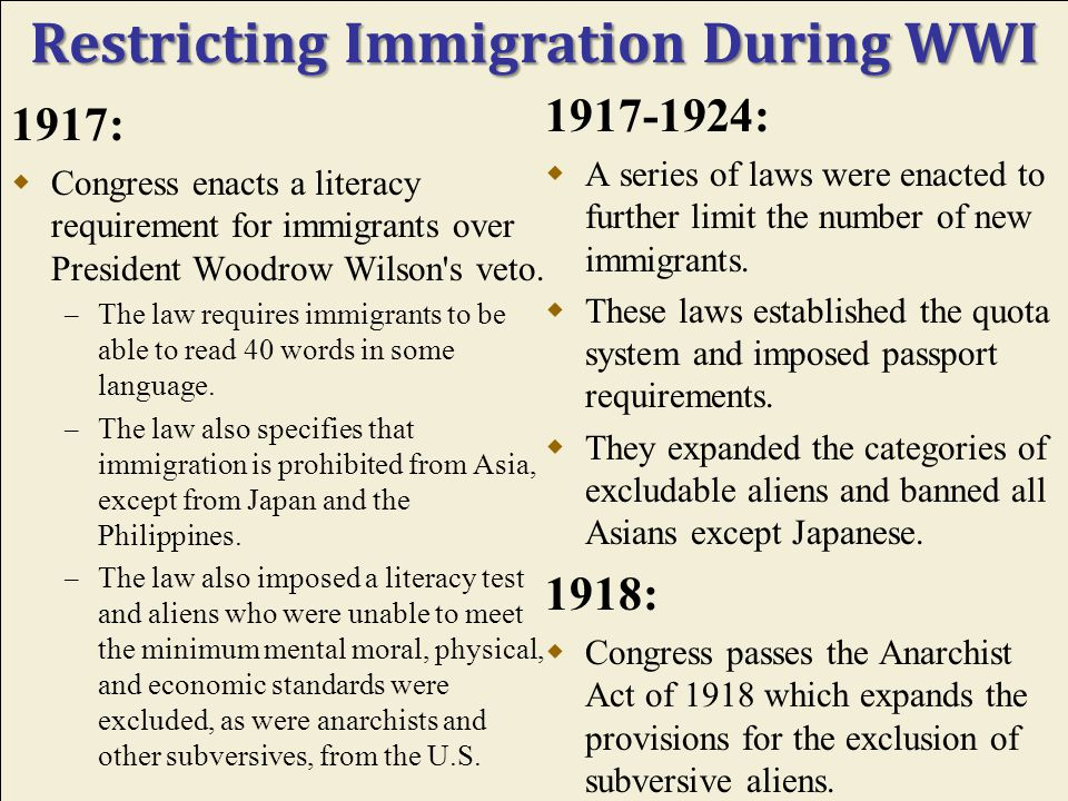 The Impact of the War: Immigration During WWI and in Post-War America