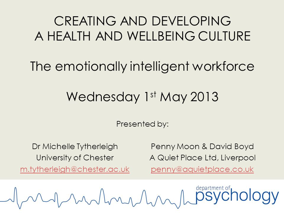 CREATING AND DEVELOPING A HEALTH AND WELLBEING CULTURE The emotionally intelligent workforce Wednesday 1 st May 2013 Presented by: Penny Moon & David Boyd A Quiet Place Ltd, Liverpool penny@aquietplace.co.uk Dr Michelle Tytherleigh University of Chester m.tytherleigh@chester.ac.uk
