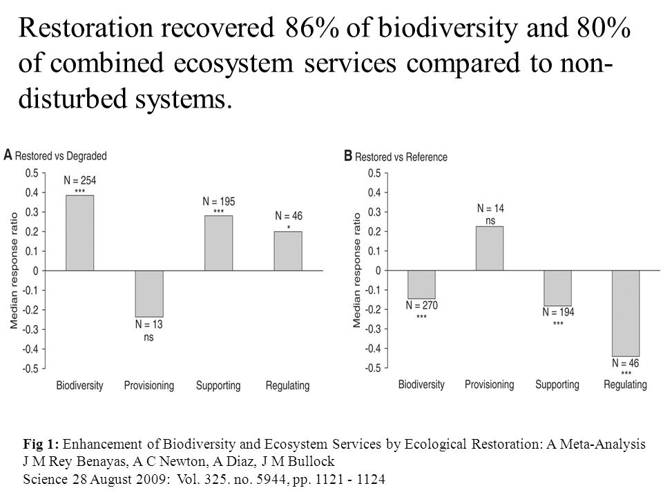 Fig 1: Enhancement of Biodiversity and Ecosystem Services by Ecological Restoration: A Meta-Analysis J M Rey Benayas, A C Newton, A Diaz, J M Bullock Science 28 August 2009: Vol.