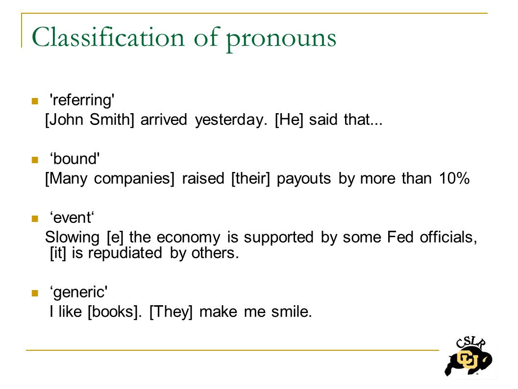 Classification of pronouns referring [John Smith] arrived yesterday.