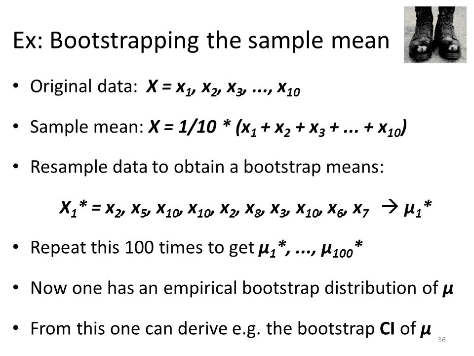 Ex: Bootstrapping the sample mean Original data: X = x 1, x 2, x 3,..., x 10 Sample mean: X = 1/10 * (x 1 + x 2 + x 3 +...