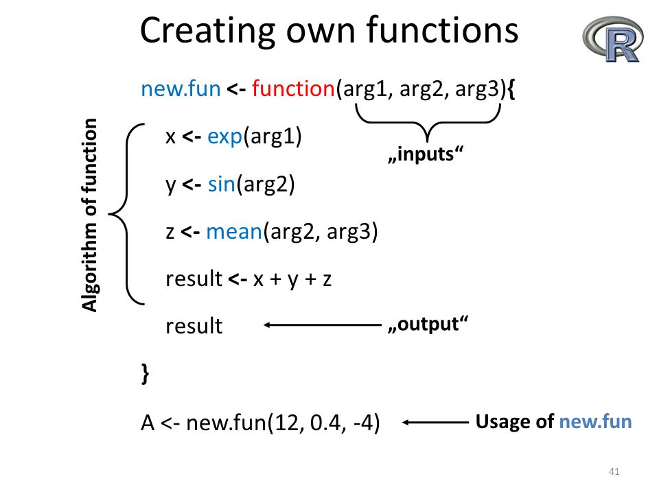 "Creating own functions new.fun <- function(arg1, arg2, arg3){ x <- exp(arg1) y <- sin(arg2) z <- mean(arg2, arg3) result <- x + y + z result } A <- new.fun(12, 0.4, -4) 41 ""inputs ""output Algorithm of function Usage of new.fun"