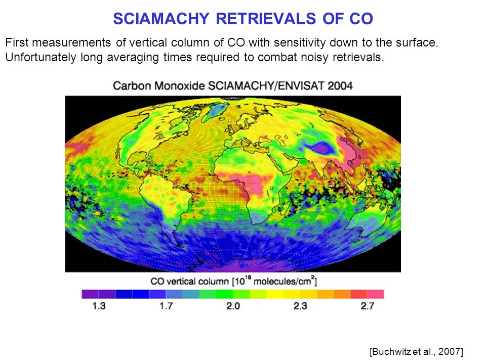 SCIAMACHY RETRIEVALS OF CO First measurements of vertical column of CO with sensitivity down to the surface.