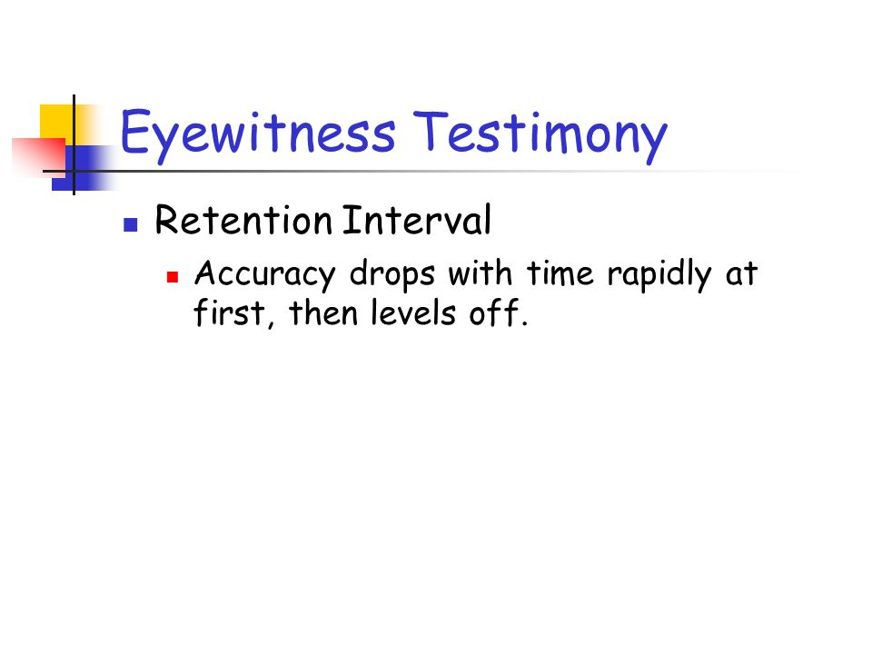 Eyewitness Testimony Retention Interval Accuracy drops with time rapidly at first, then levels off.