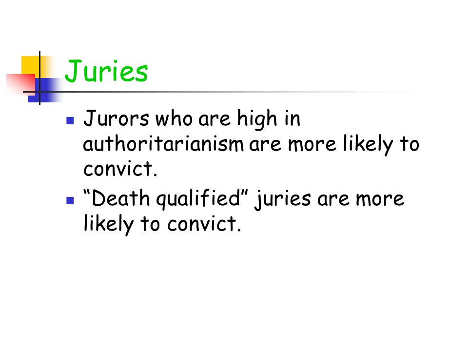 "Juries Jurors who are high in authoritarianism are more likely to convict. ""Death qualified"" juries are more likely to convict."