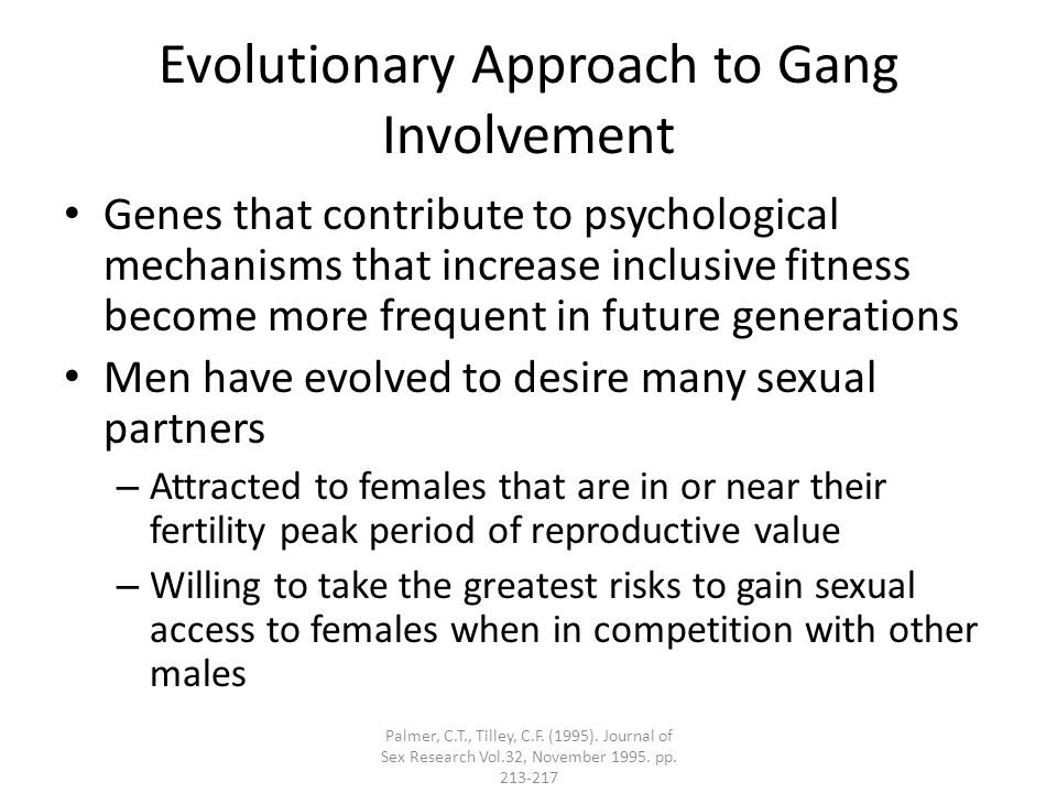 Evolutionary Approach to Gang Involvement Genes that contribute to psychological mechanisms that increase inclusive fitness become more frequent in future generations Men have evolved to desire many sexual partners – Attracted to females that are in or near their fertility peak period of reproductive value – Willing to take the greatest risks to gain sexual access to females when in competition with other males Palmer, C.T., Tilley, C.F.